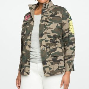 Eloquii Camo Utility Jacket with Patches
